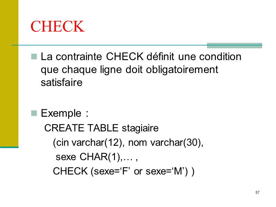 CHECK La contrainte CHECK définit une condition que chaque ligne doit obligatoirement satisfaire. Exemple :