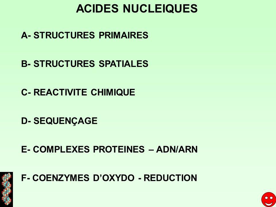ACIDES NUCLEIQUES A- STRUCTURES PRIMAIRES B- STRUCTURES SPATIALES