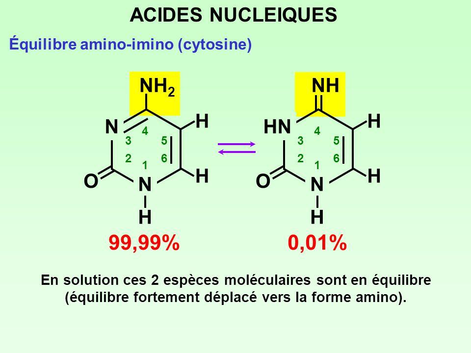 99,99% 0,01% ACIDES NUCLEIQUES NH2 HN N H NH O H N H O N H