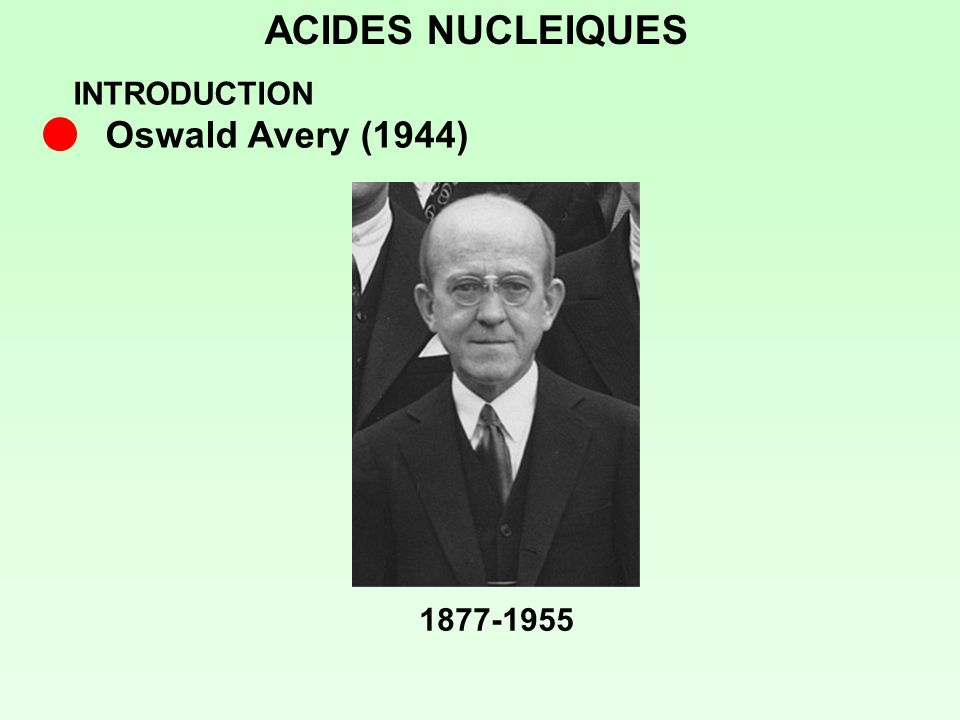 ACIDES NUCLEIQUES INTRODUCTION Oswald Avery (1944) 1877-1955
