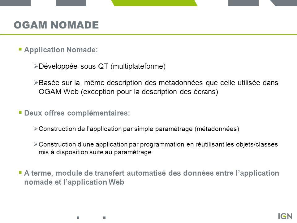 OGAM Nomade Application Nomade: Développée sous QT (multiplateforme)