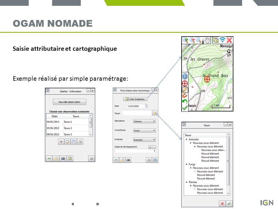 OGAM Nomade Saisie attributaire et cartographique
