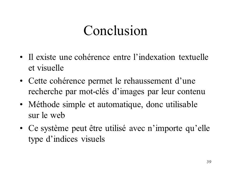 Conclusion Il existe une cohérence entre l'indexation textuelle et visuelle.
