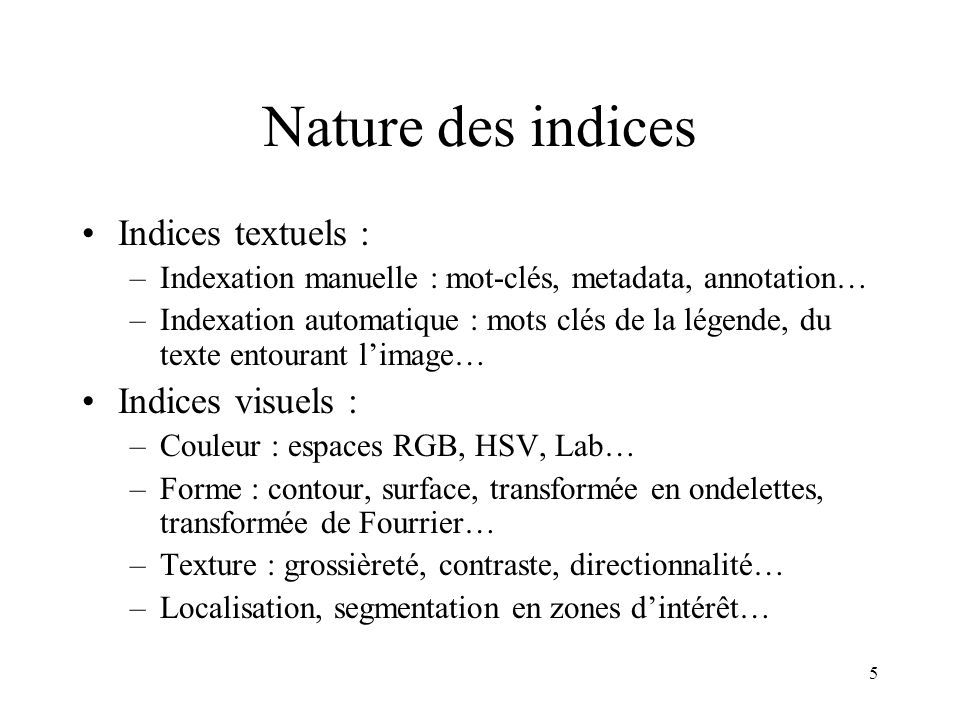Nature des indices Indices textuels : Indices visuels :