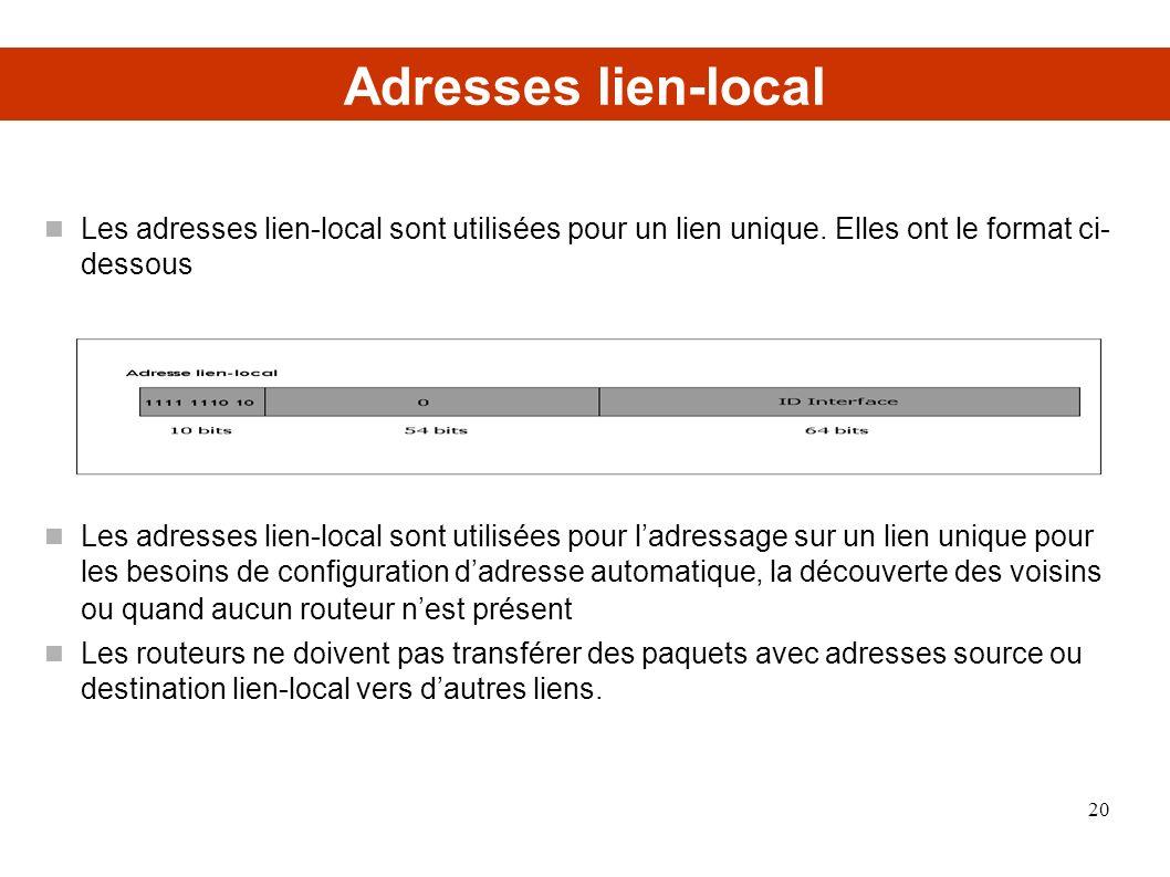 Adresses lien-local Les adresses lien-local sont utilisées pour un lien unique. Elles ont le format ci- dessous.