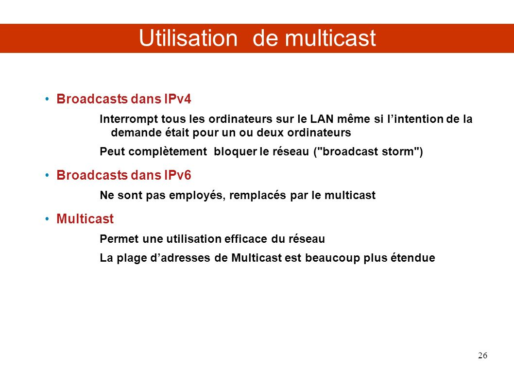 Utilisation de multicast