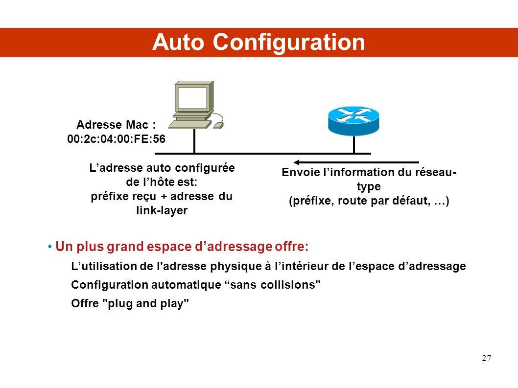 Auto Configuration Un plus grand espace d'adressage offre: