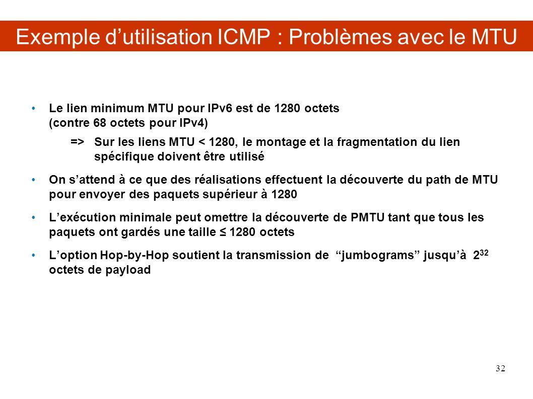 Exemple d'utilisation ICMP : Problèmes avec le MTU