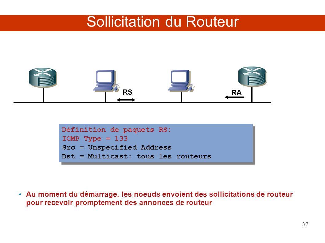 Sollicitation du Routeur