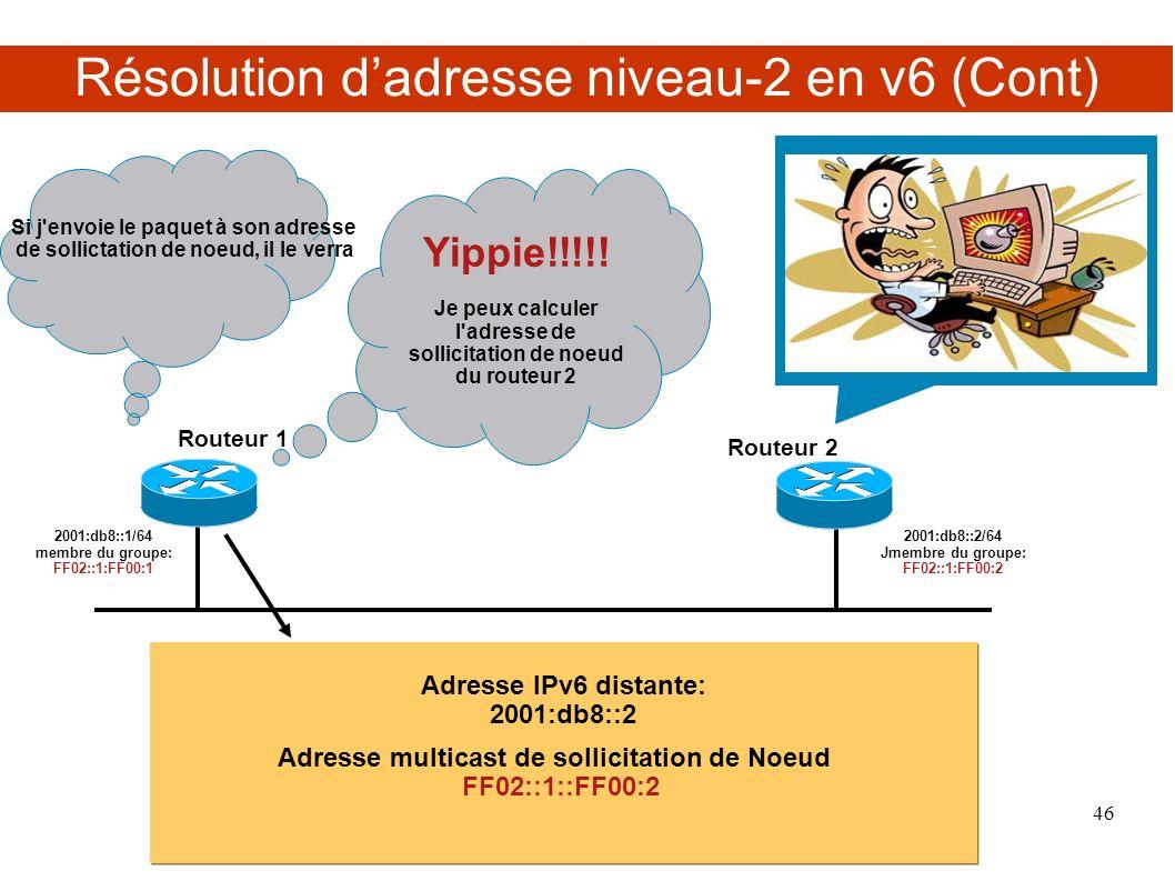 Résolution d'adresse niveau-2 en v6 (Cont)
