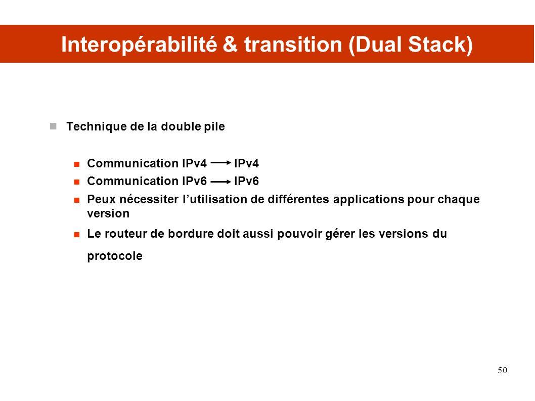 Interopérabilité & transition (Dual Stack)