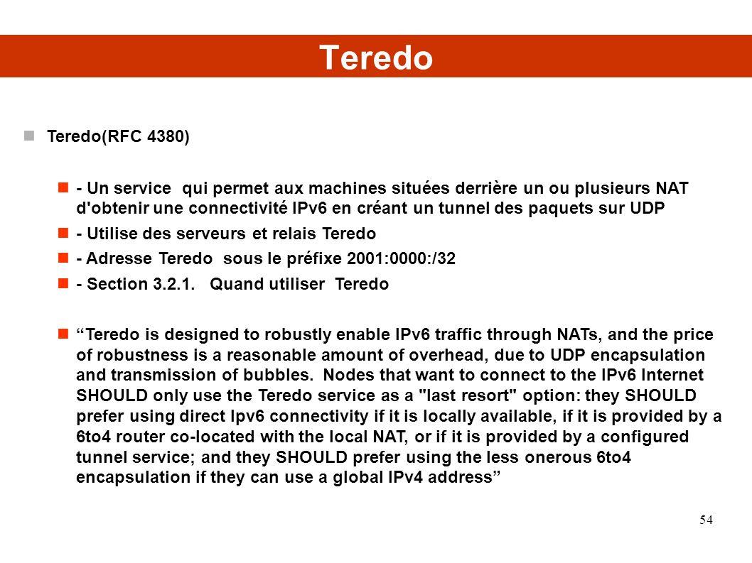 Teredo Teredo(RFC 4380)