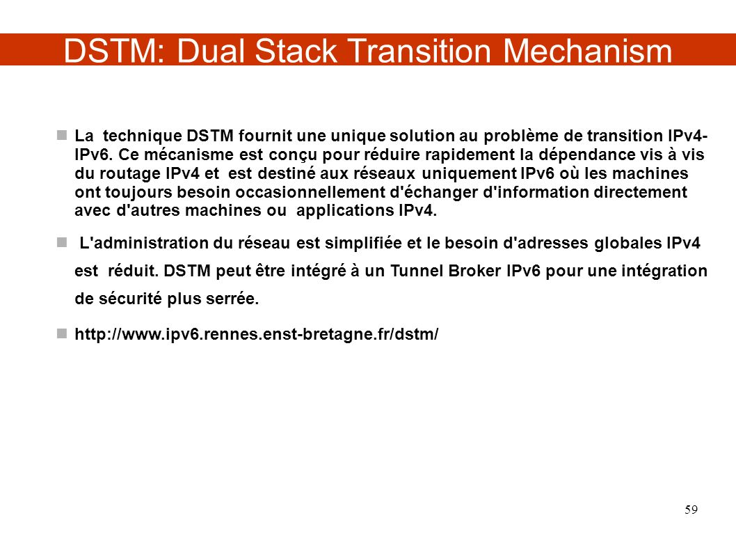 DSTM: Dual Stack Transition Mechanism