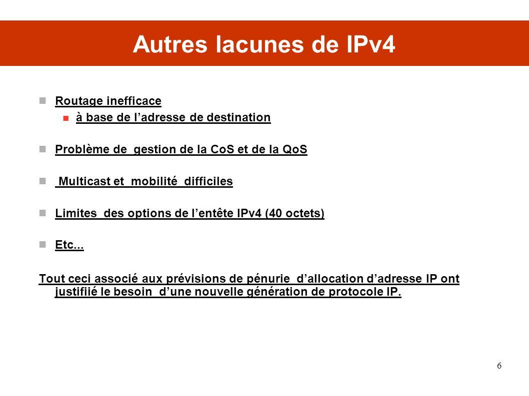 Autres lacunes de IPv4 Routage inefficace