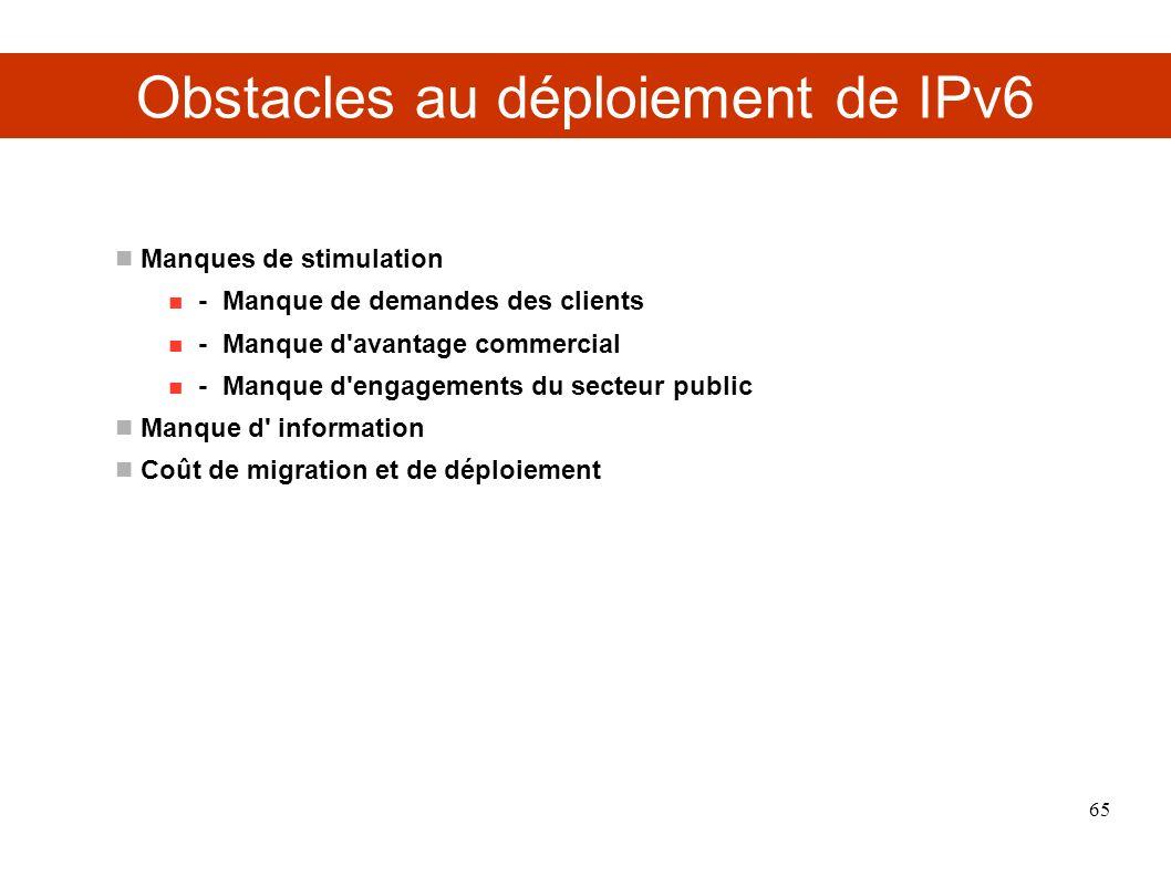 Obstacles au déploiement de IPv6