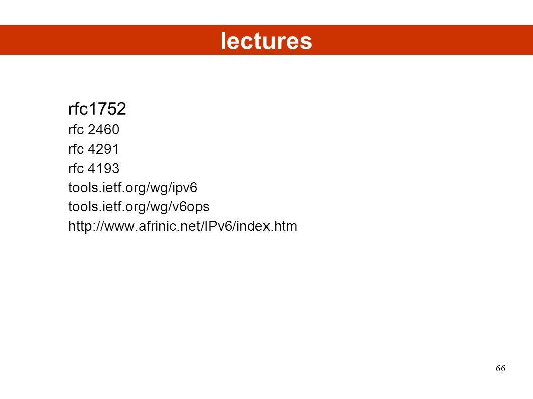 lectures rfc1752 rfc 2460 rfc 4291 rfc 4193 tools.ietf.org/wg/ipv6