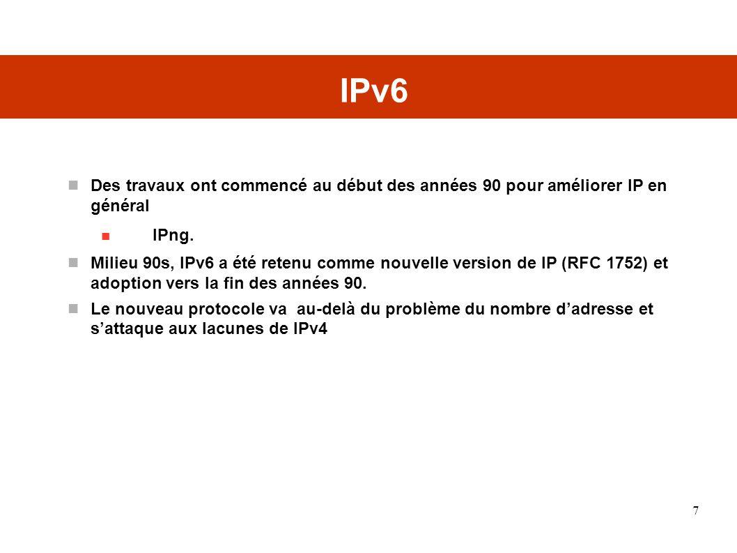 IPv6 Des travaux ont commencé au début des années 90 pour améliorer IP en général. IPng.
