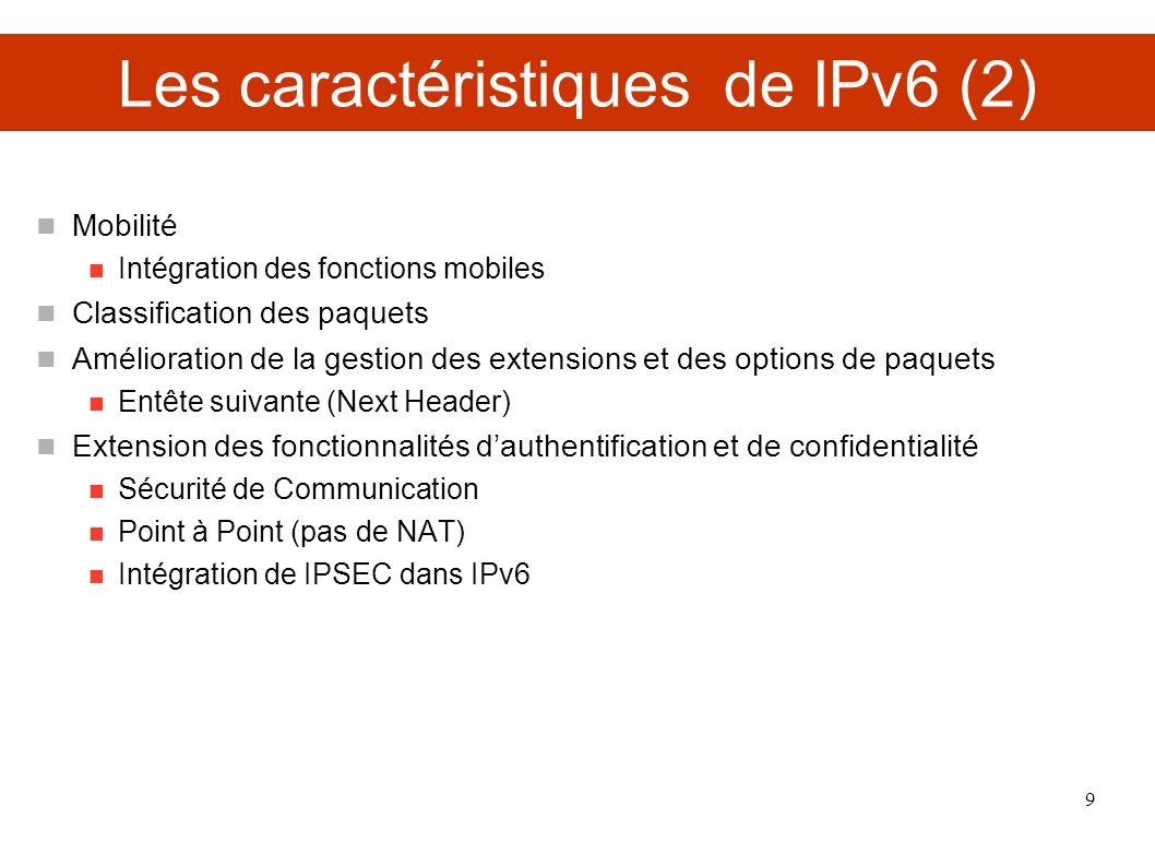 Les caractéristiques de IPv6 (2)