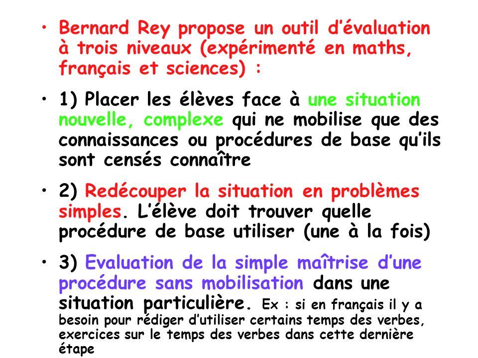 Bernard Rey propose un outil d'évaluation à trois niveaux (expérimenté en maths, français et sciences) :