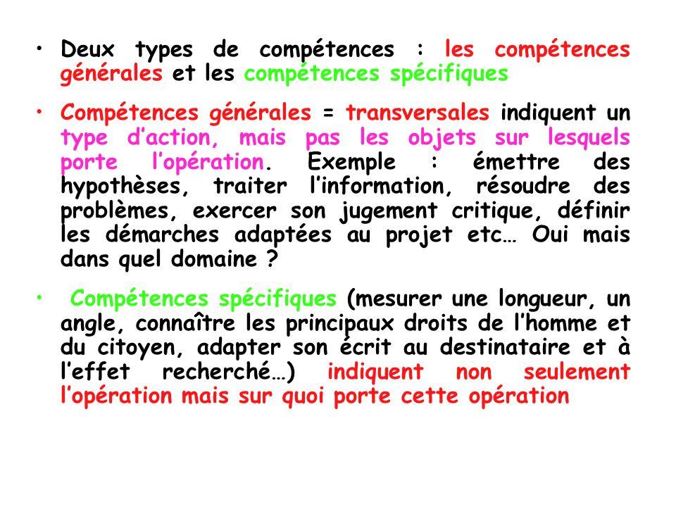 Deux types de compétences : les compétences générales et les compétences spécifiques