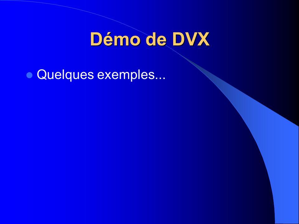 Démo de DVX Quelques exemples...