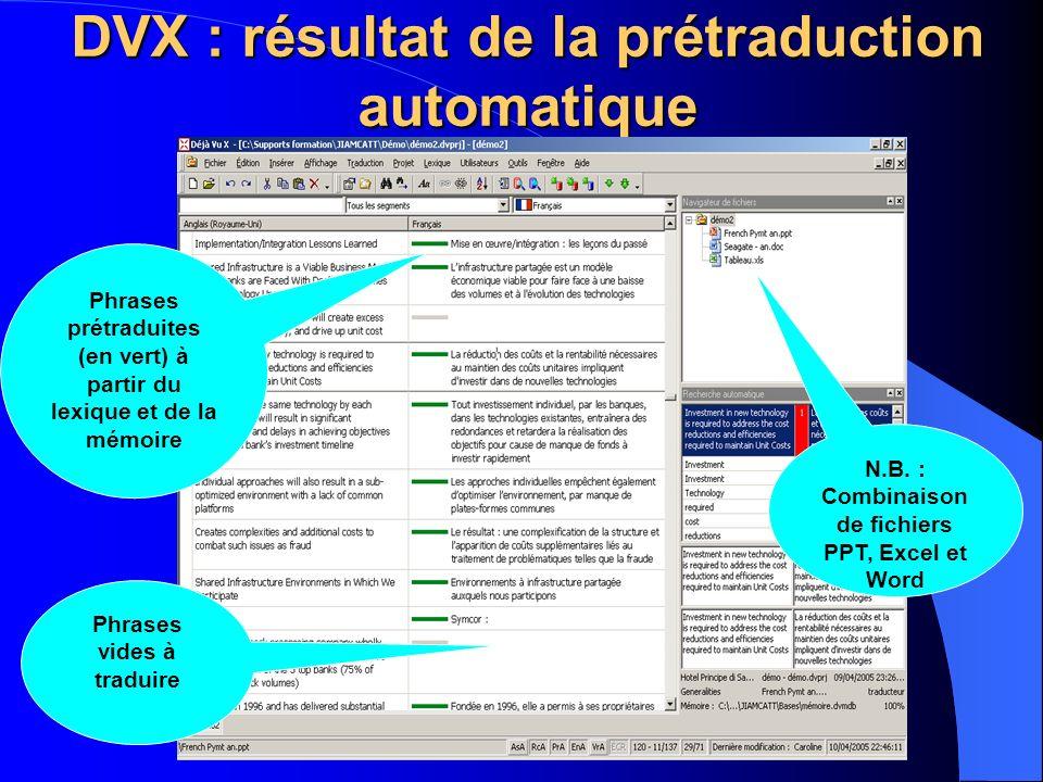 DVX : résultat de la prétraduction automatique