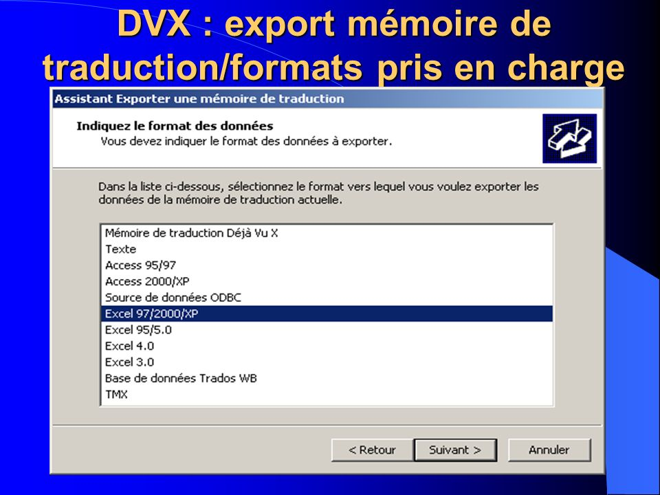 DVX : export mémoire de traduction/formats pris en charge