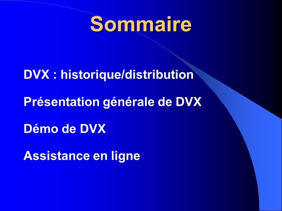 Sommaire DVX : historique/distribution Présentation générale de DVX