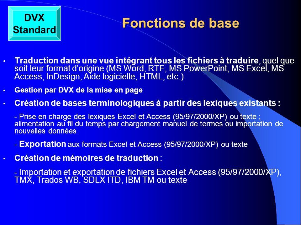 Fonctions de base DVX Standard
