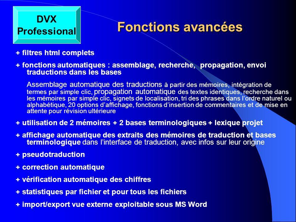 Fonctions avancées DVX Professional + filtres html complets