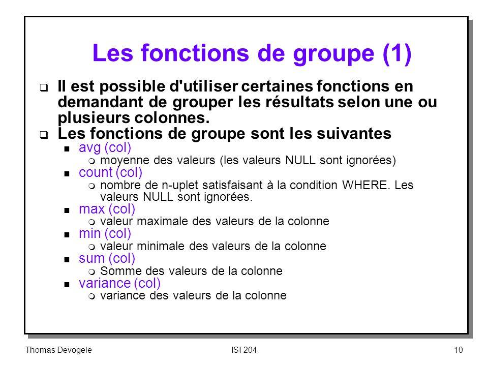 Les fonctions de groupe (1)