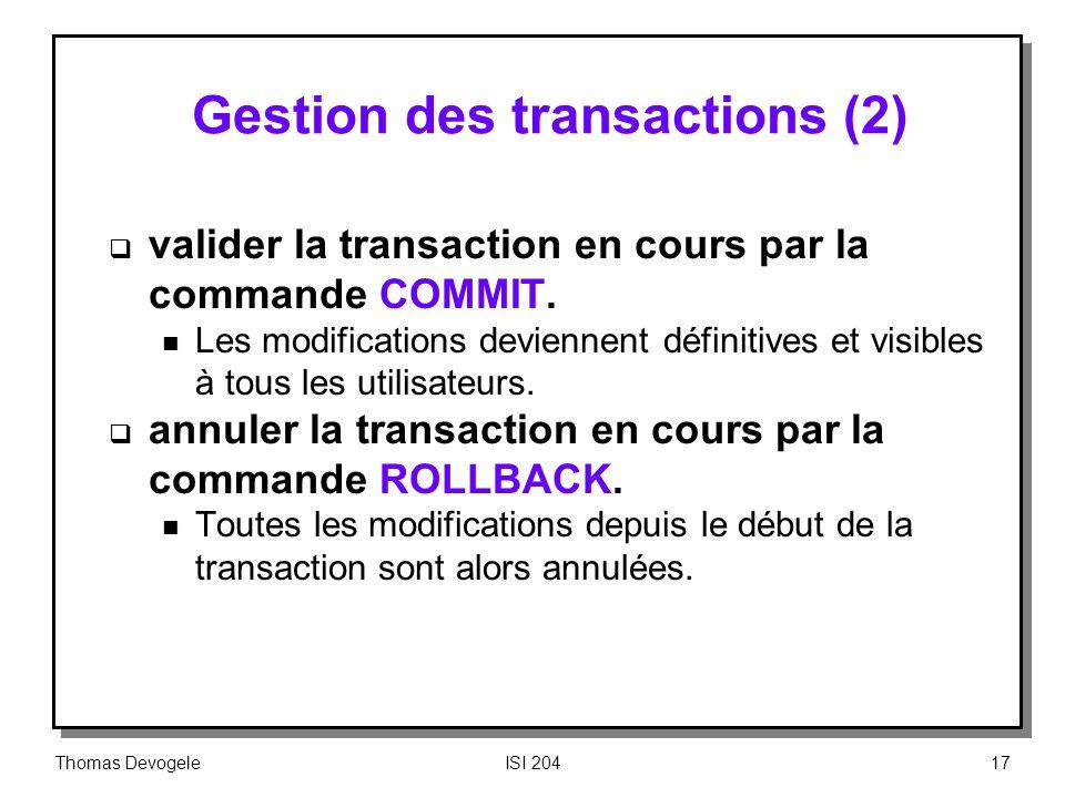 Gestion des transactions (2)