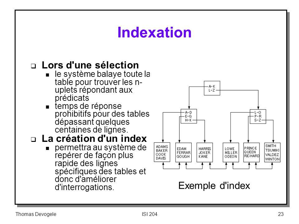 Indexation Lors d une sélection La création d un index Exemple d index