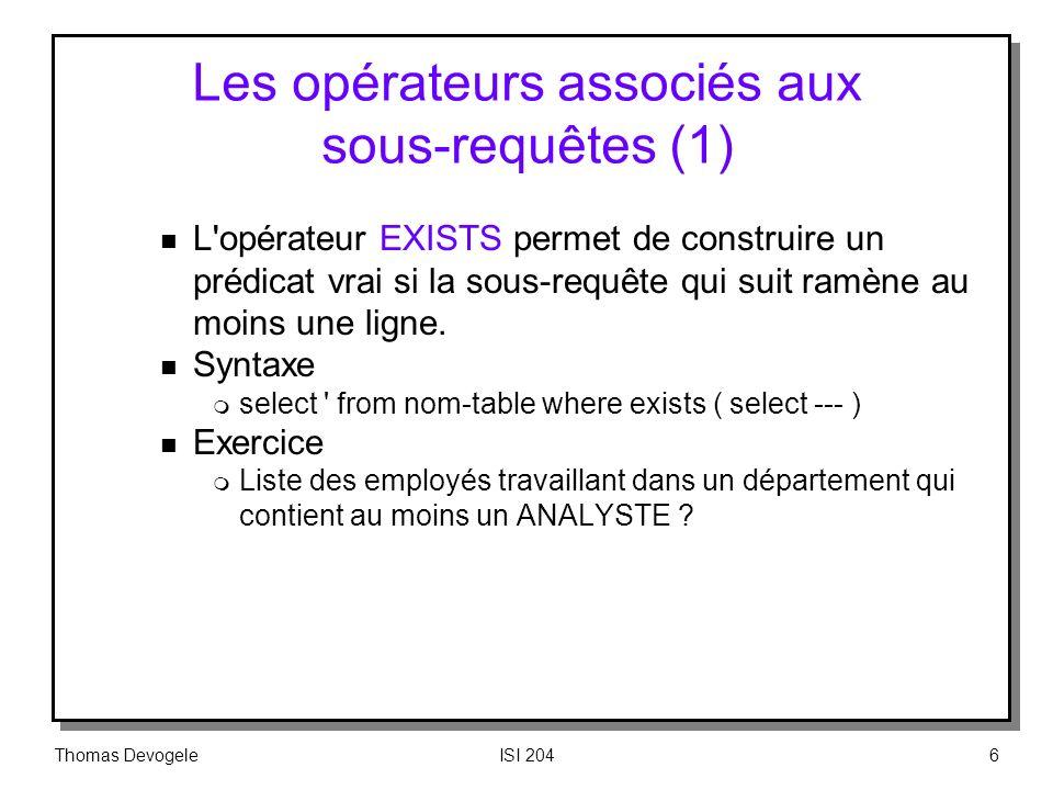 Les opérateurs associés aux sous‑requêtes (1)