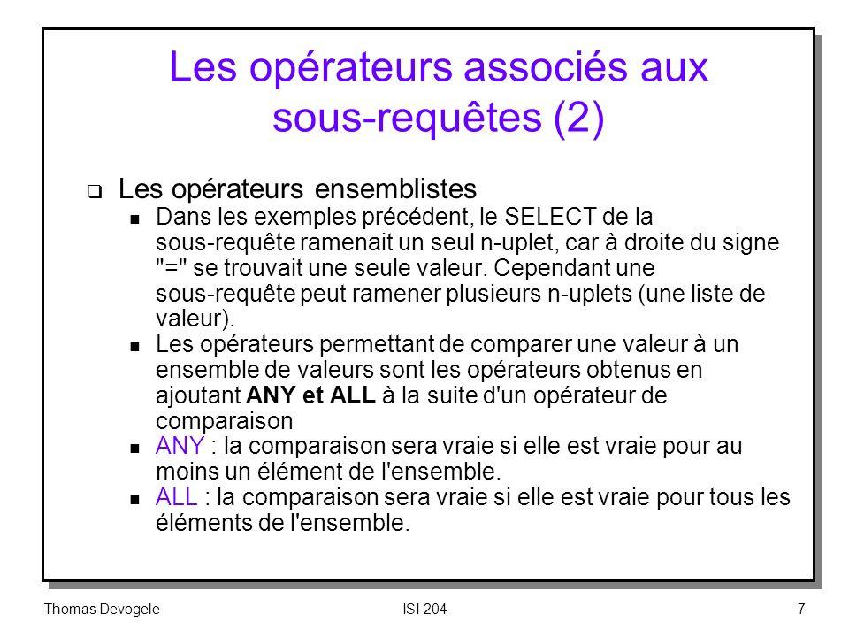 Les opérateurs associés aux sous‑requêtes (2)