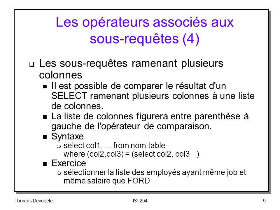 Les opérateurs associés aux sous‑requêtes (4)