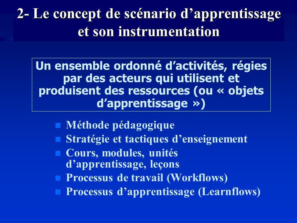 2- Le concept de scénario d'apprentissage et son instrumentation