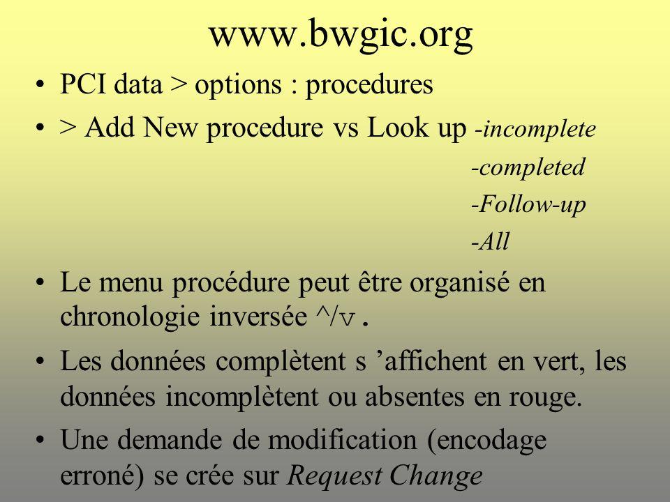 www.bwgic.org PCI data > options : procedures