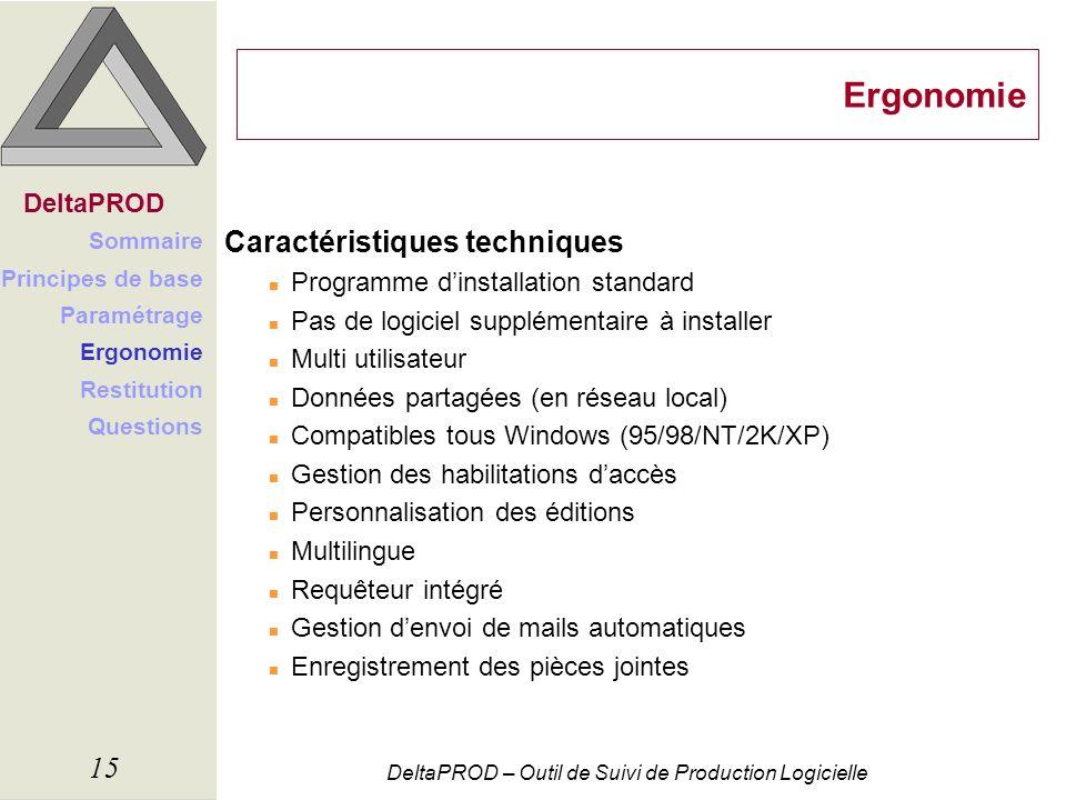 Ergonomie Caractéristiques techniques DeltaPROD
