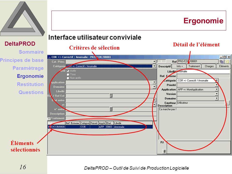 Ergonomie Interface utilisateur conviviale DeltaPROD