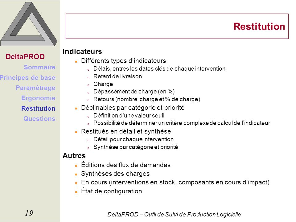 Restitution Indicateurs DeltaPROD Autres