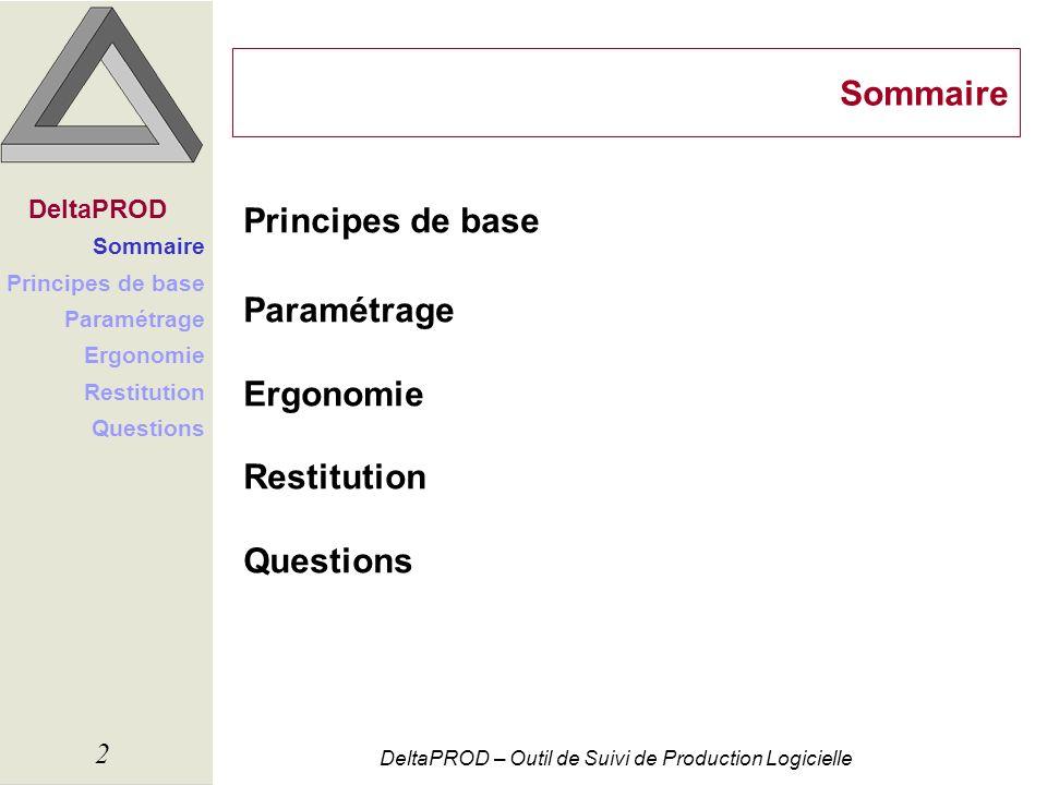 Sommaire Principes de base Paramétrage Ergonomie Restitution Questions