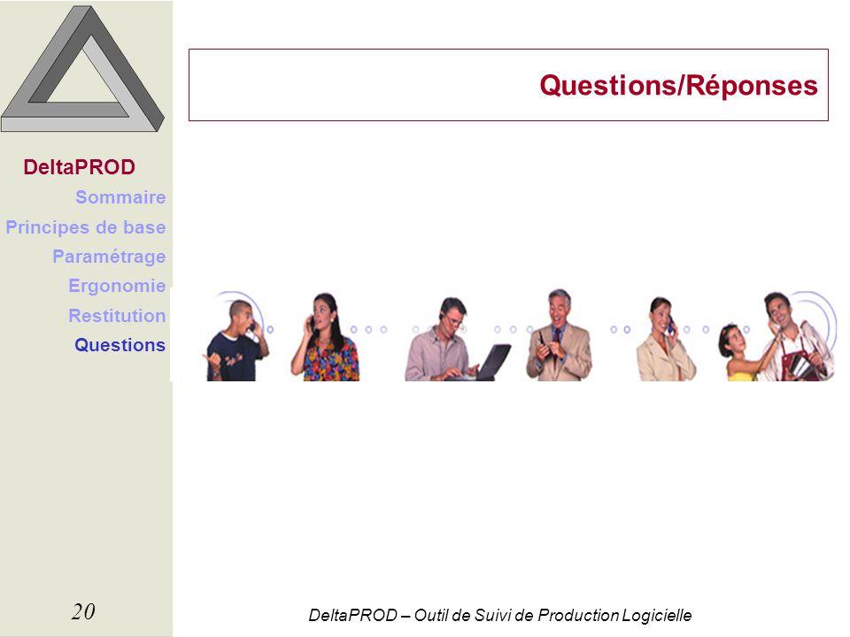 Questions/Réponses DeltaPROD Sommaire Principes de base Paramétrage