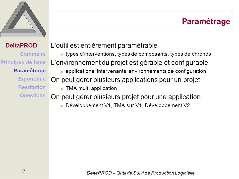 Paramétrage L'outil est entièrement paramétrable