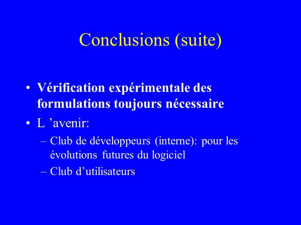 Conclusions (suite) Vérification expérimentale des formulations toujours nécessaire. L 'avenir: