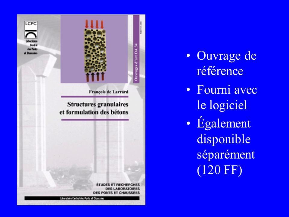 Ouvrage de référence Fourni avec le logiciel Également disponible séparément (120 FF)