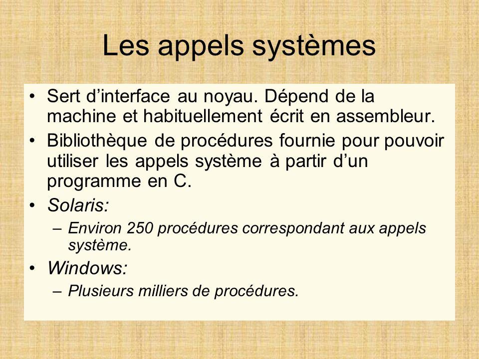 Les appels systèmes Sert d'interface au noyau. Dépend de la machine et habituellement écrit en assembleur.
