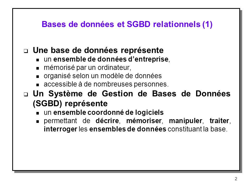 Bases de données et SGBD relationnels (1)