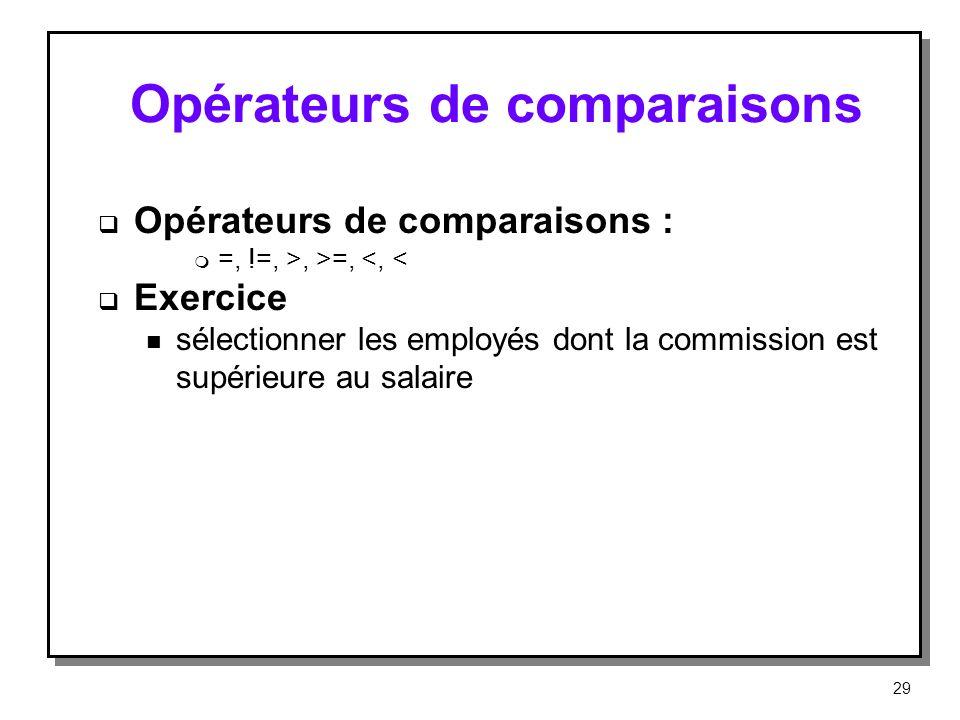 Opérateurs de comparaisons