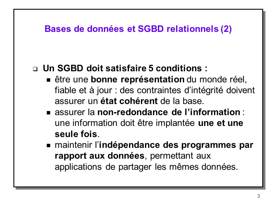 Bases de données et SGBD relationnels (2)